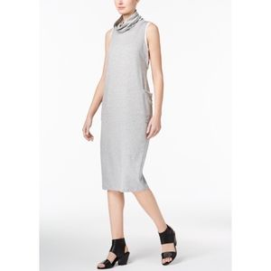 Eileen Fisher Jersey Knit Cowl Neck Midi Dress